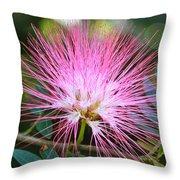 Pink Mimosa Flower Throw Pillow