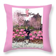 Pink New Year Greeting Throw Pillow