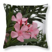 Pink Oleander 4 Throw Pillow