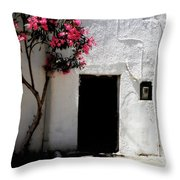 Pink Oleander By The Door Throw Pillow