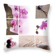 Pink Orchid And Buddha Collage Throw Pillow