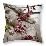 Pink Orchid And Statue Throw Pillow