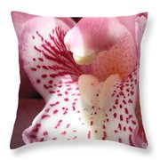 Pink Orchid Closeup Throw Pillow