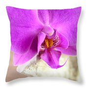 Pink Orchid On White Colored Driftwood Throw Pillow by Sabine Jacobs