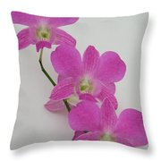 Pink Orchids 1 Throw Pillow