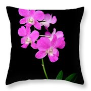 Pink Orchids 9 Throw Pillow
