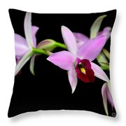 Pink Orchids Cascading Throw Pillow
