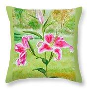 Pink Oriental Lillies Throw Pillow