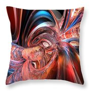 Pink Peacock Abstract Fx  Throw Pillow
