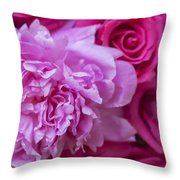 Pink Peonies And Pink Roses Throw Pillow