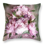 Pink Peonies Bouquet - Square Throw Pillow