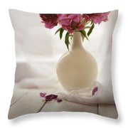 Pink Peonies In A Pot On The Wooden Table Throw Pillow