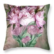 Pink Peonies In Peony Vase Throw Pillow