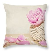 Pink Peony And The Thread Ball Throw Pillow