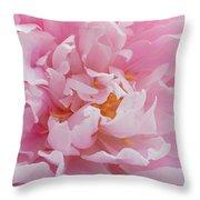 Pink Peony Flower Waving Petals  Throw Pillow