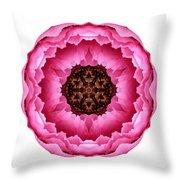 Pink Peony I Flower Mandala White Throw Pillow