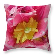 Pink Peony Tulip With Raindrop Throw Pillow