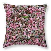 Pink Petals On Stones  Throw Pillow