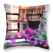 Pink Petunias And Watering Cans Throw Pillow