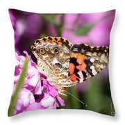 Pink Phlox With Butterfly Throw Pillow