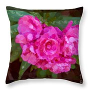 Pink Plumeria Abstract Flower Painting Throw Pillow