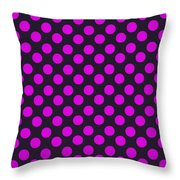 Pink Polka Dots On Black Fabric Background Throw Pillow