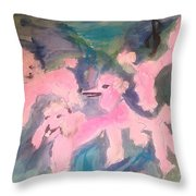 Pink Poodle Polka Throw Pillow