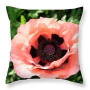 Pink Poppy Bloom Throw Pillow