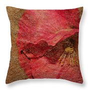 Pink Poppy Gold Leaf Throw Pillow