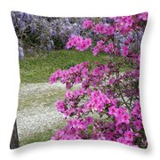 Pink Purple Mississippi Blooms Throw Pillow