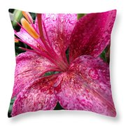Pink Rain Speckled Lily Throw Pillow