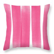 Pink Ribbons- Colorful Abstract Watercolor Painting Throw Pillow
