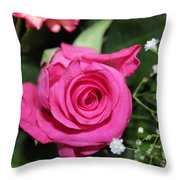Pink Rose Adds Colour Throw Pillow