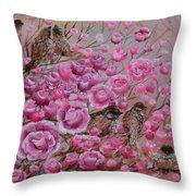 Pink Rose Birdies Throw Pillow