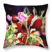 Pink Rose Bloom Throw Pillow