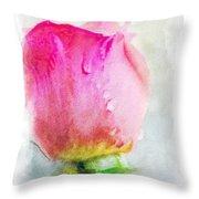 Pink Rose Bud - Digital Paint II Throw Pillow
