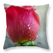 Pink Rose Bud With Drops Throw Pillow