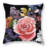 Pink Rose Floral Painting Throw Pillow