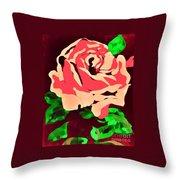 Pink Rose Impression Throw Pillow