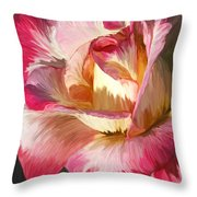 Pink Rose Painted  Throw Pillow