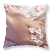 Pink Rose Petals On Nude Woman Body Throw Pillow