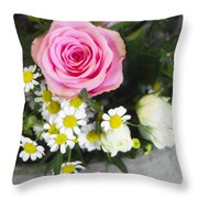 Pink Rose With Daisies Throw Pillow