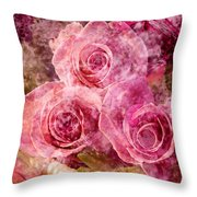 Pink Roses And Pearls Throw Pillow