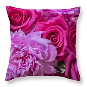 Pink Roses And Peonies Please Throw Pillow