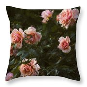 Flowers - Pink Roses Throw Pillow