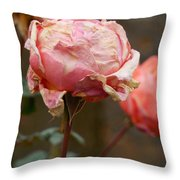 Pink Roses In The First Snow Throw Pillow