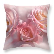 Pink Roses In The Mist Throw Pillow