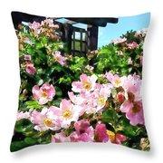 Pink Roses Near Trellis Throw Pillow