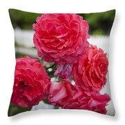 Pink Roses White Picket Fence Throw Pillow