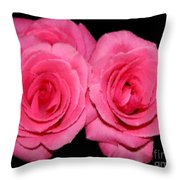 Pink Roses With Brush Stroke Effects Throw Pillow